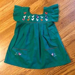 Vintage Chilean Green Embroidered Bird Sundress